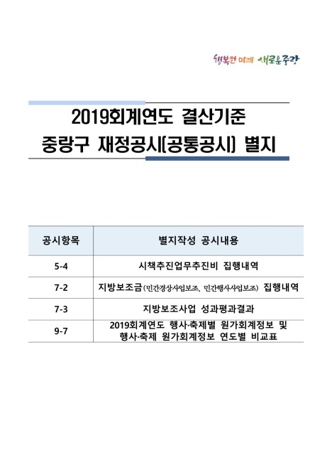2019회계연도 결산공시(공통공시) 별지